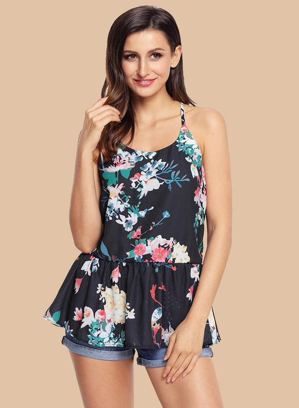 Floral Ruffled Babydoll Camis Tank (LC250130-2-1)