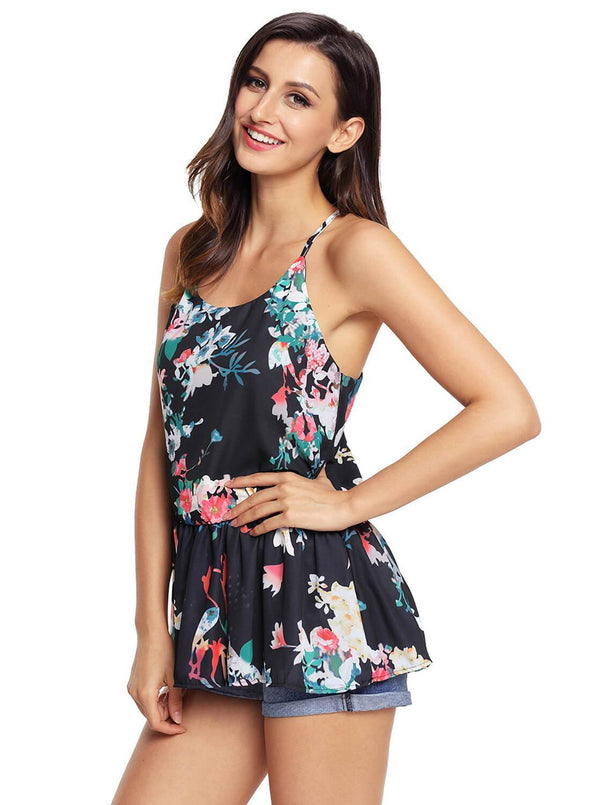 Floral Ruffled Babydoll Camis Tank (LC250130-2-3)