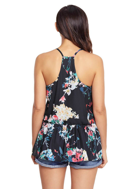 Floral Ruffled Babydoll Camis Tank (LC250130-2-2)