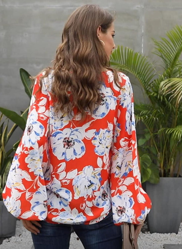 Boho Print Balloon Sleeve Blouse