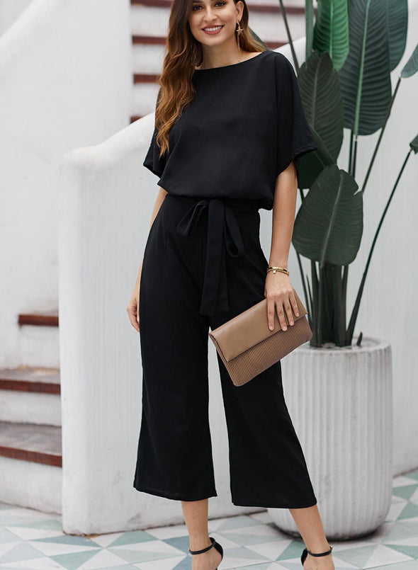 Always Chic Belted Culotte Jumpsuit