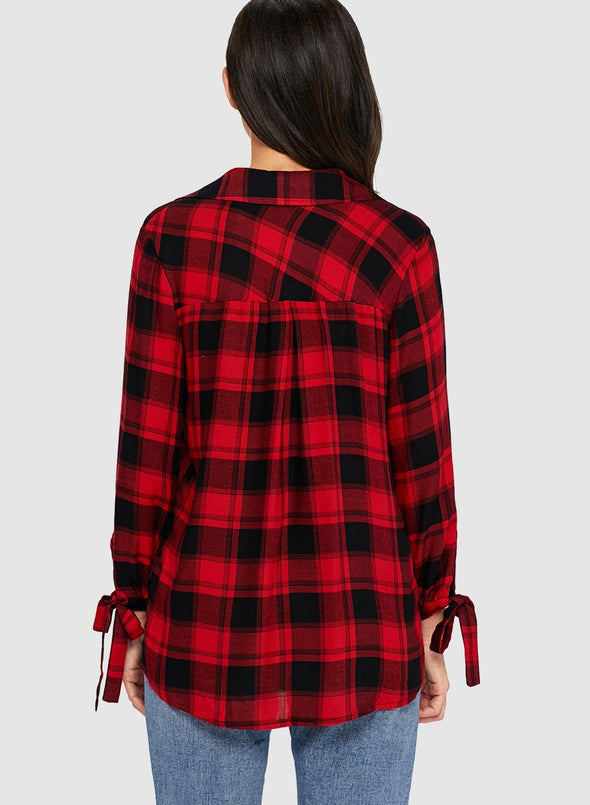 Plaid Drape Top