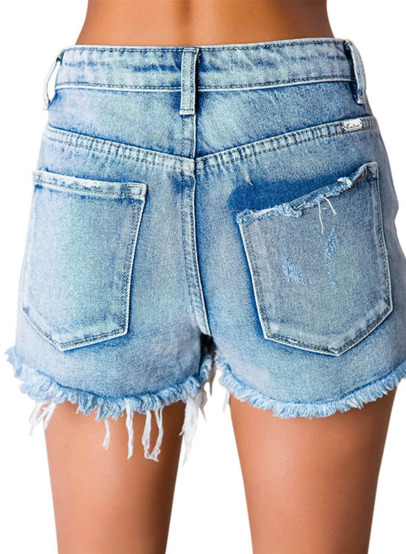 High Waisted Distressed Denim Shorts (LC786124-4-2)