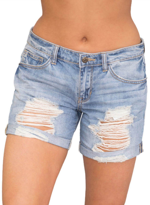 Rolled Cuffs Distressed Denim Shorts (LC786094-4-4)