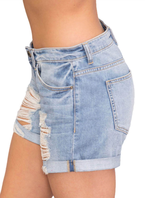 Rolled Cuffs Distressed Denim Shorts (LC786094-4-3)
