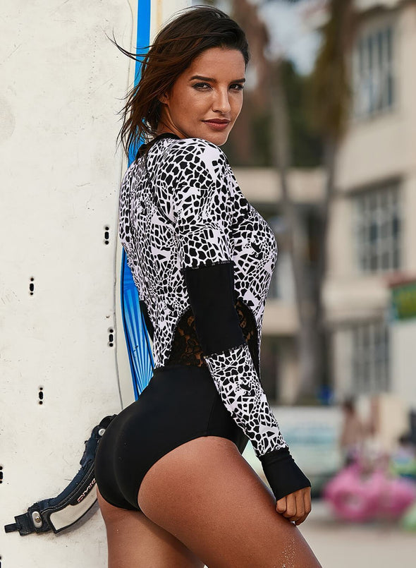Lace Hollow Leopard One-piece Rashguard