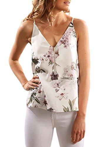 V Neck Floral Printed Spaghetti Strap Sleeveless Fron Zipper Cami Tank Tops