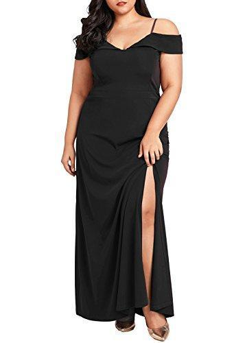Women's Plus Size Off Shoulder V Neck Evening Party Maxi Dress