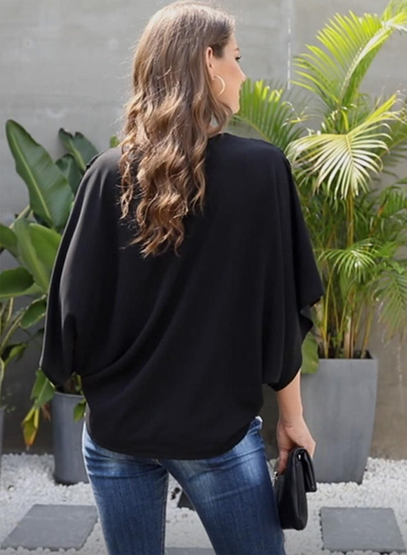 Fashion Contrast Color V Neck Blouse