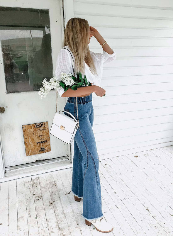 Distressed Bell Bottom Denim Pants