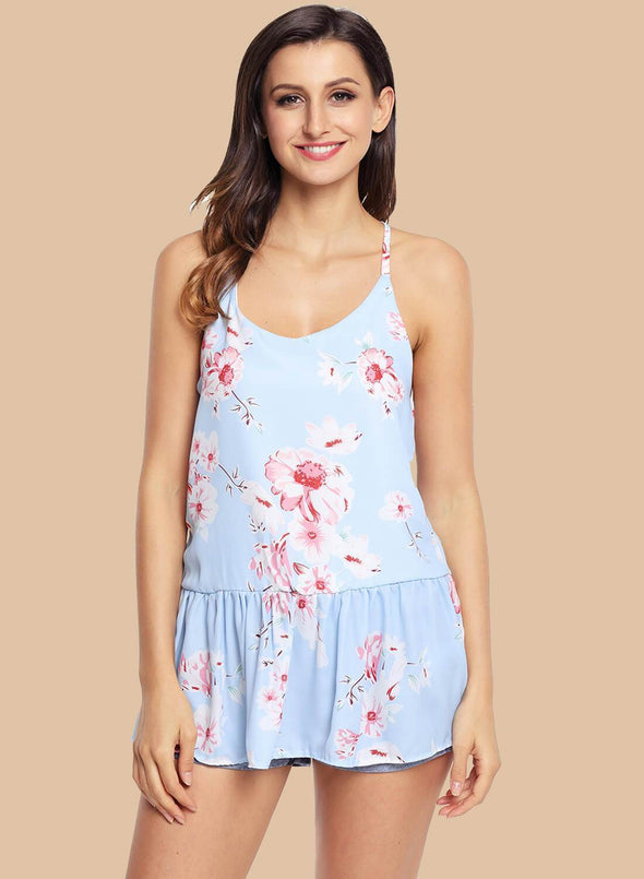 Floral Ruffled Babydoll Camis Tank (LC250130-4-1)