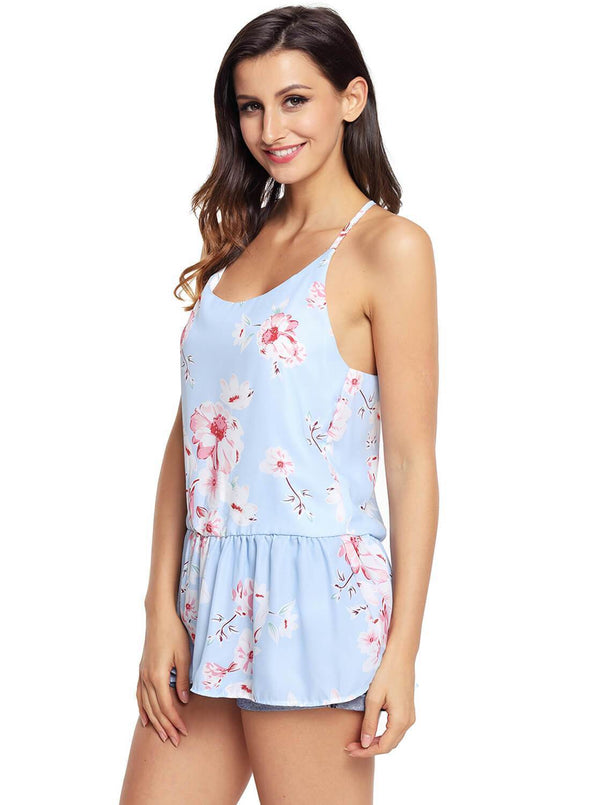 Floral Ruffled Babydoll Camis Tank (LC250130-4-3)