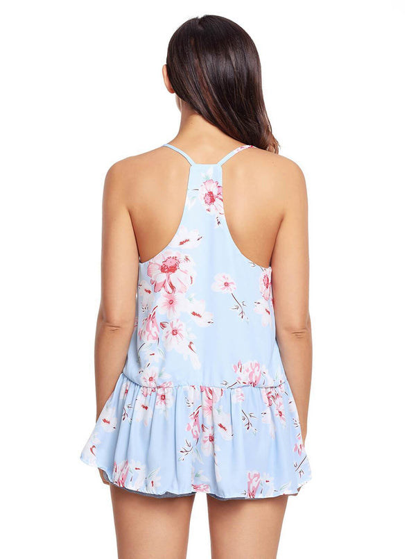 Floral Ruffled Babydoll Camis Tank (LC250130-4-2)