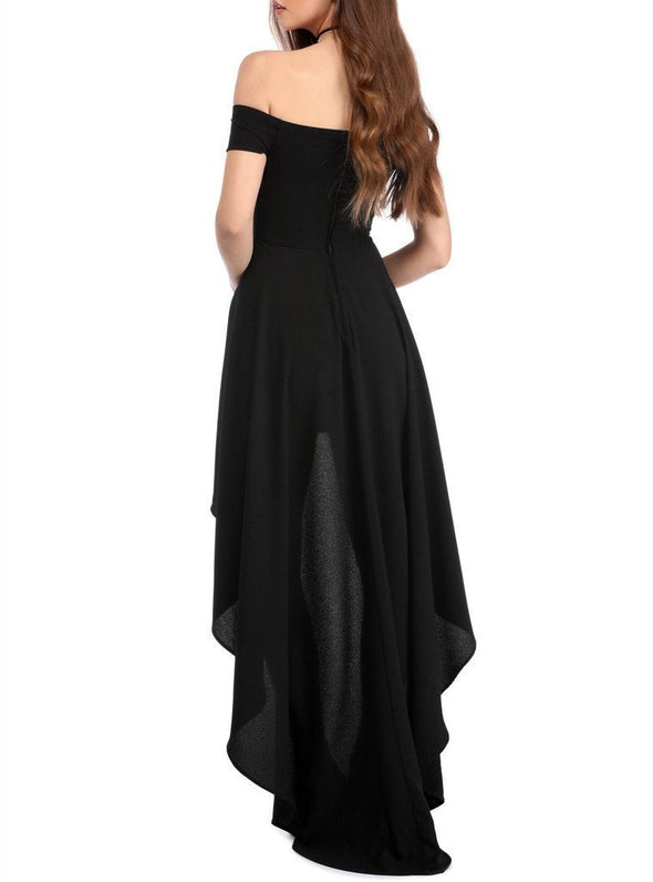 Vintage Off Shoulder High Low Party Dress