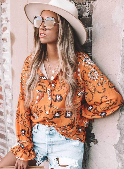 Boho Button Down V Neck Floral Print Shirt