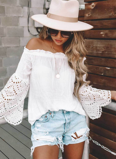 Off The Shoulder Eyelet Sleeves Blouse