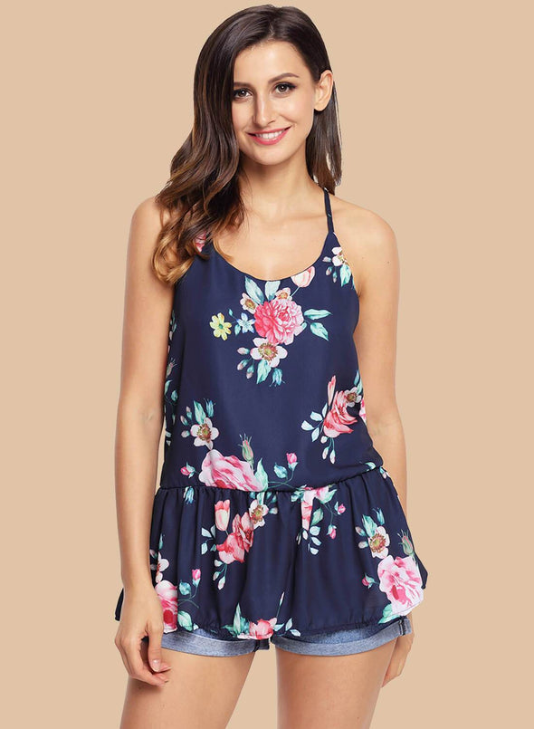 Floral Ruffled Babydoll Camis Tank (LC250130-5-1)
