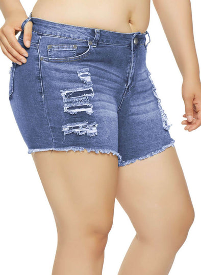 Vintage Distressed Denim Shorts (LC786125-5-1)