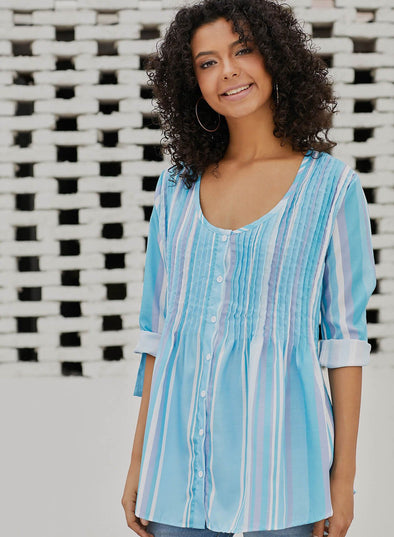 Pleated Stripe Button Front Tunic