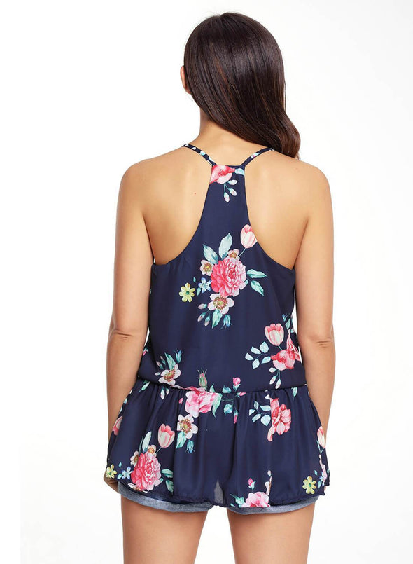 Floral Ruffled Babydoll Camis Tank (LC250130-5-2)