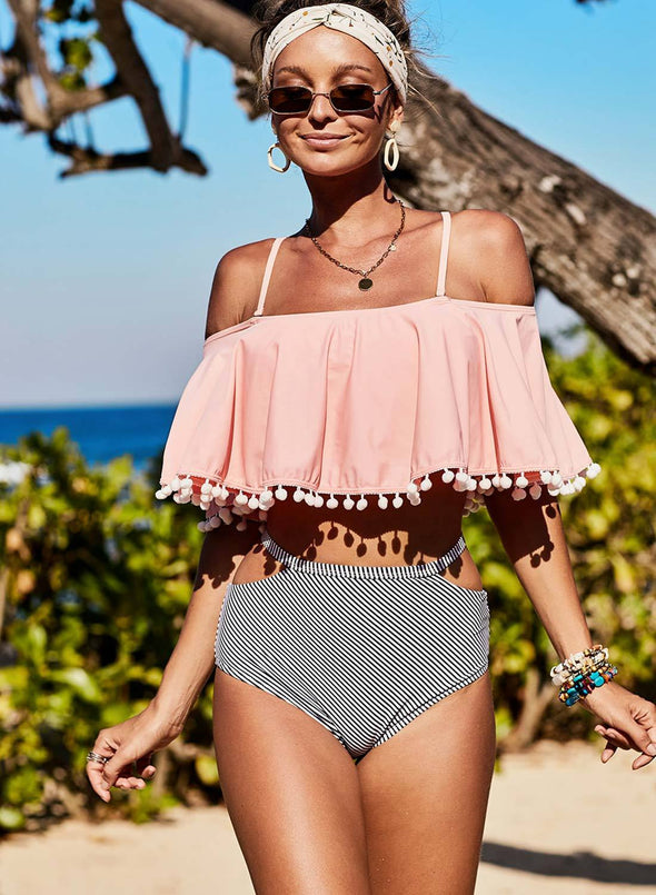 Retro Flounce Tassel Off Shoulder High Waisted Bikini