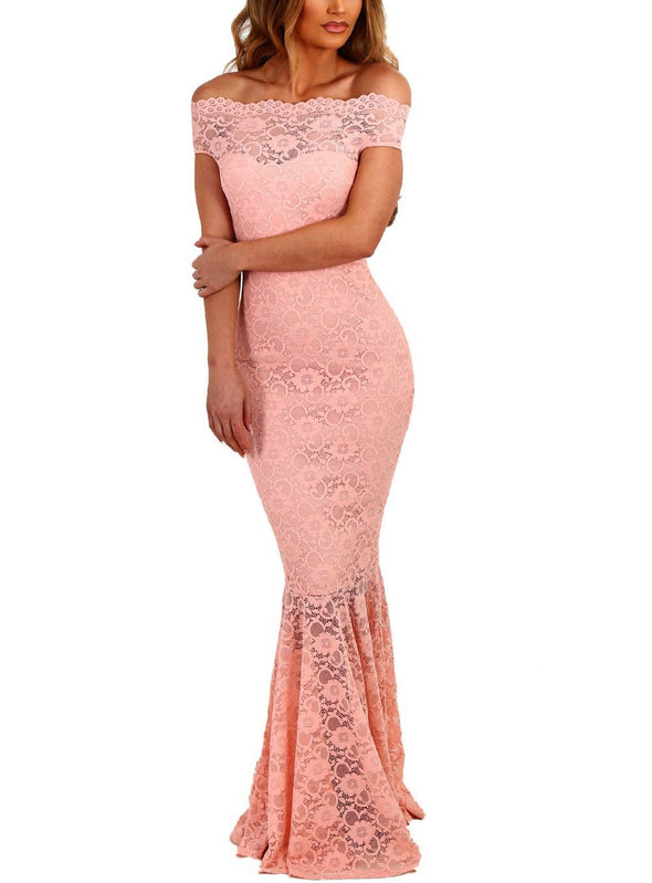 Pink Bardot Lace Fishtail Maxi Dress