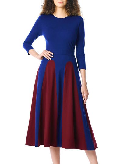 Color Block 3/4 Sleeve Round Neck Midi Dress