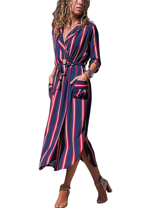 Multi Striped Shirt Dress with Tie