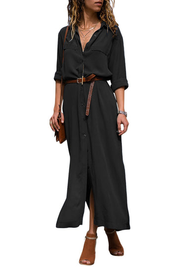 Slit Maxi Shirt Dress with Sash