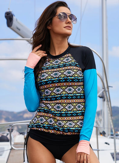 Color Block Tribal Print Rashguard Swim Top