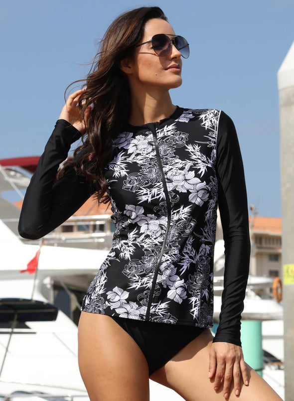 Floral Zip Surfing Rashguard Top