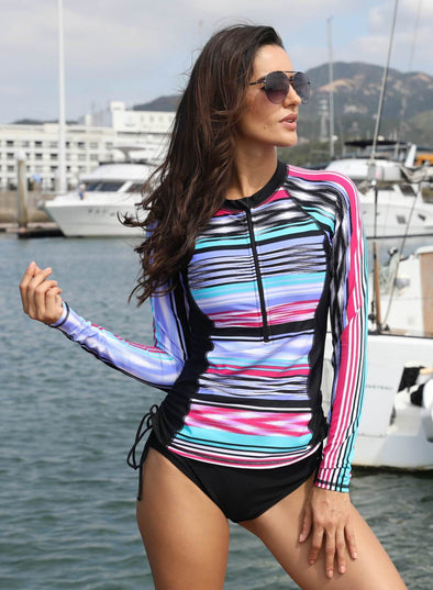 Striped Zip Front Rashguard Swim Top