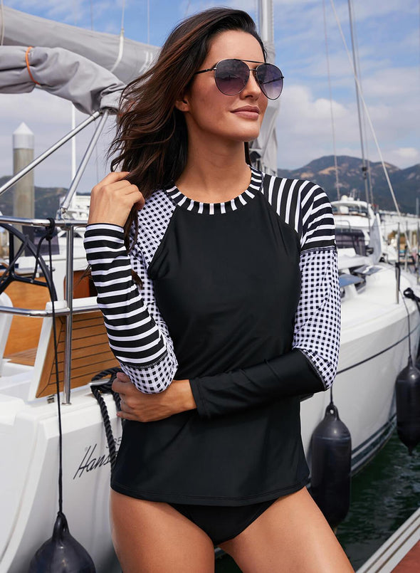 Striped Raglan Sleeve Rashguard Swim Top
