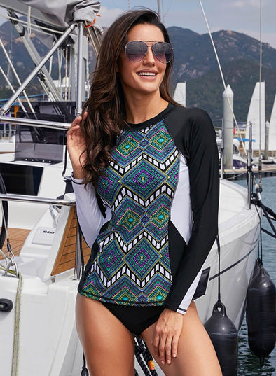 Tribal Print Long Sleeve Tankini Top