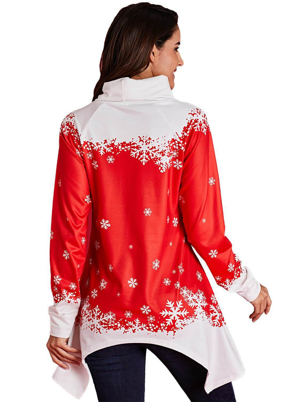 Cowl Neck Santa Claus Xmas Tunic Top