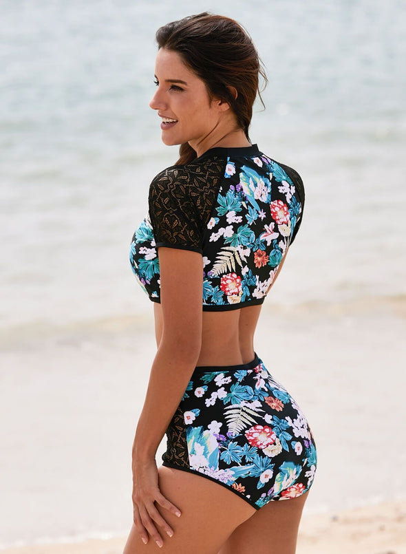 Lace Hollow Floral High Waist 2pcs Swimsuit