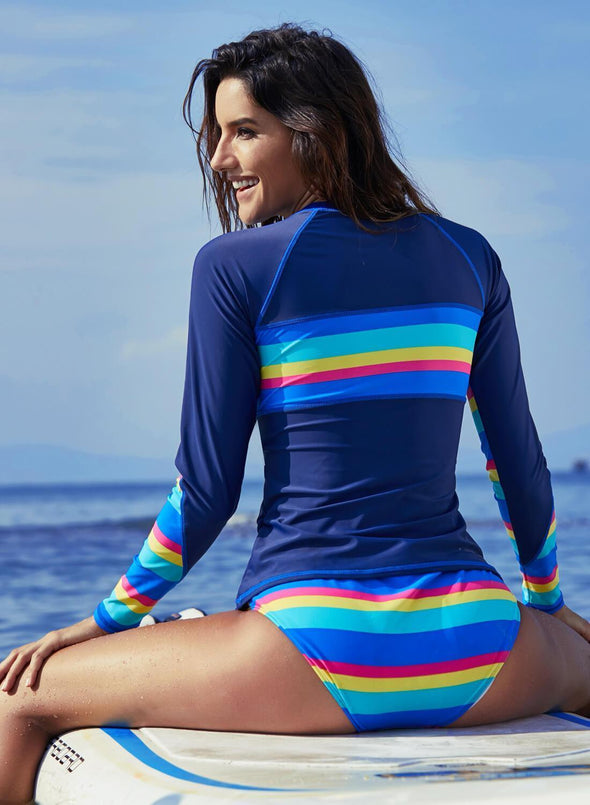 Rainbow Striped Rashguard 2pcs Swimsuit