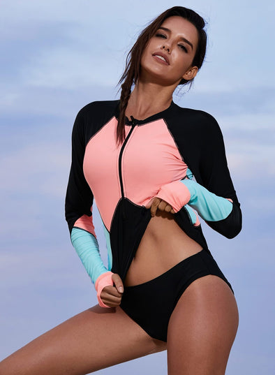 Color Block Rashguard Swim Top