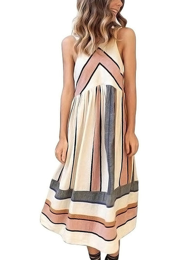 Striped Sleeveless Halter Neck Summer Midi Dress with Pockets