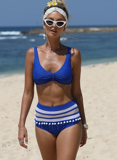 Cute Pom Pom Striped 2pcs Bikini Set