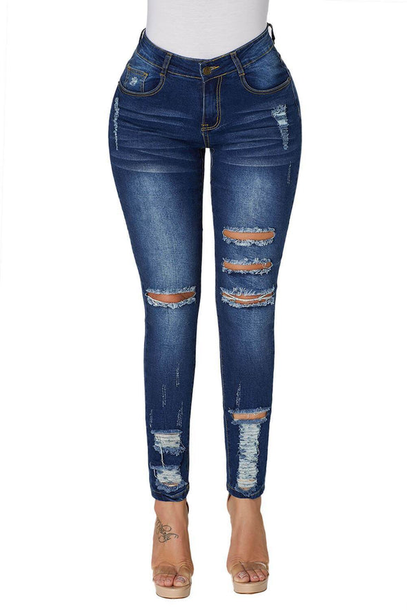 Distressed Ankle Length Skinny Denim Jeans
