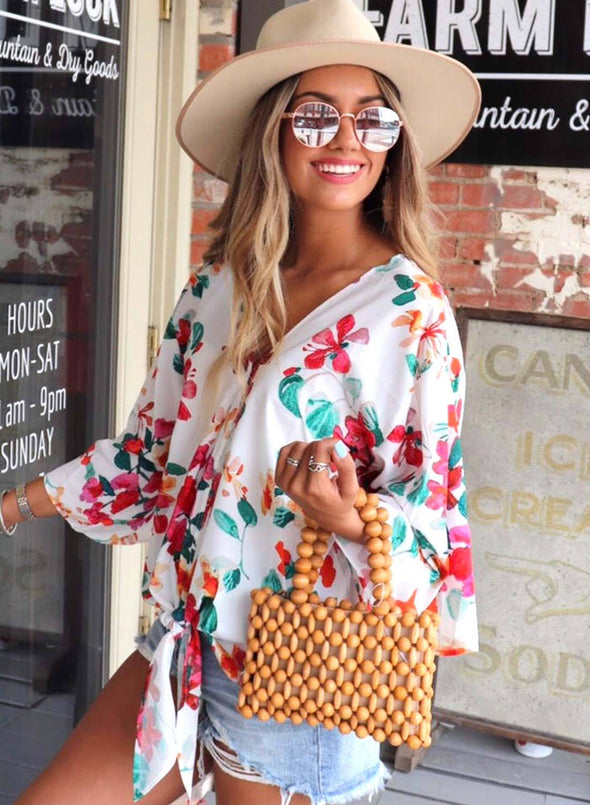 Multicolor Floral Printed Deep V Neck Tie Front Blouse