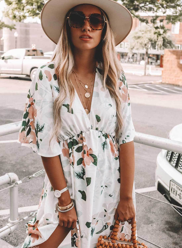 Hawaiian Babydoll Floral Dress