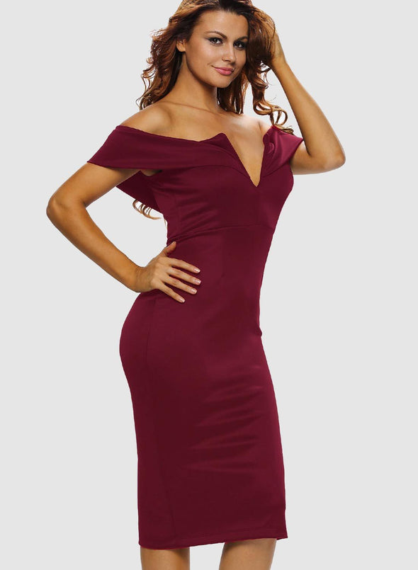 Sexy V Neck Off The Shoulder Evening Bodycon Club Midi Dress