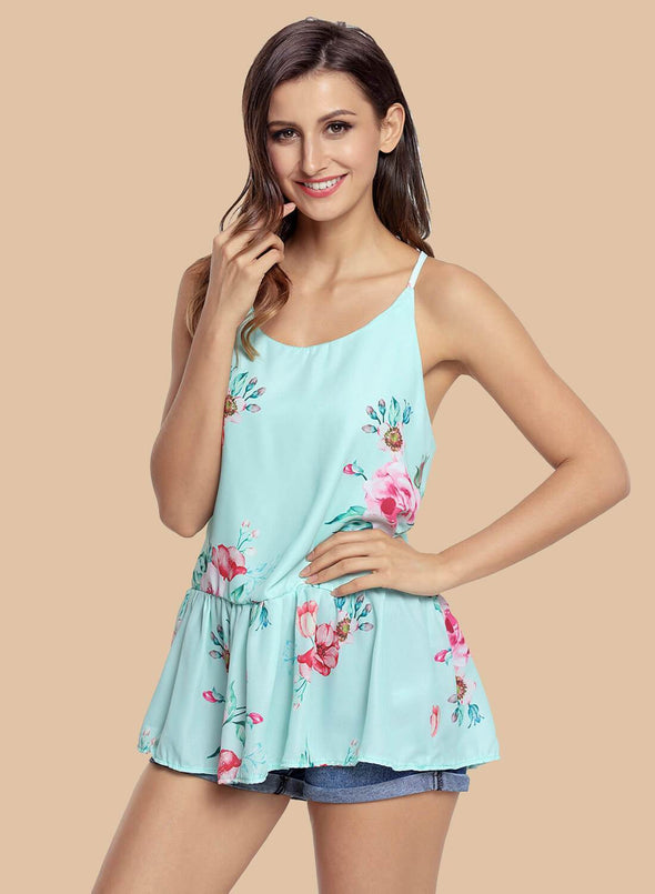Floral Ruffled Babydoll Camis Tank (LC250130-9-1)