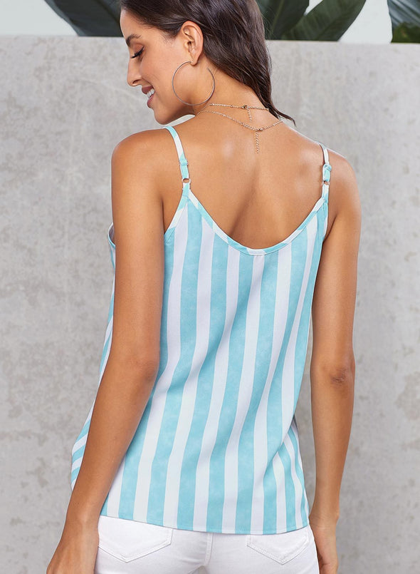 Button Up V Neck Strappy Shirt Cami Top