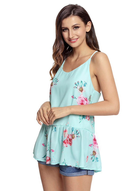 Floral Ruffled Babydoll Camis Tank (LC250130-9-3)