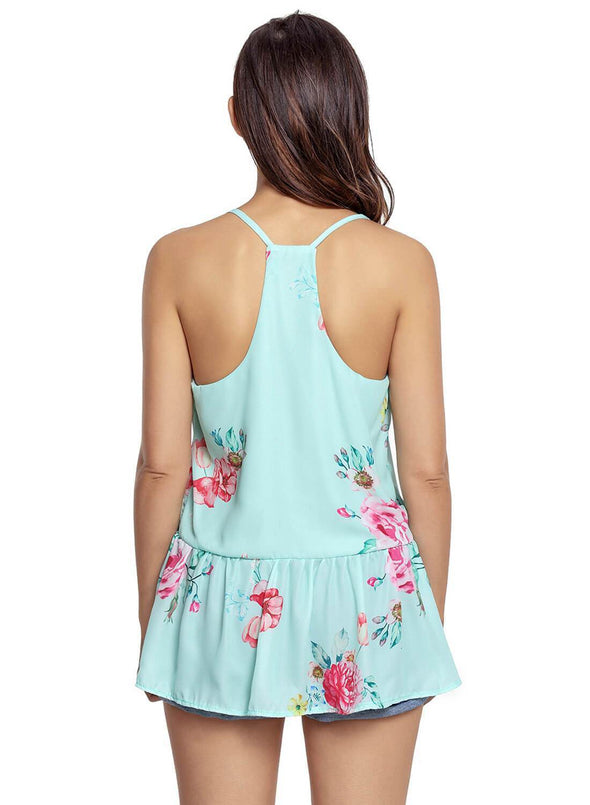 Floral Ruffled Babydoll Camis Tank (LC250130-9-2)