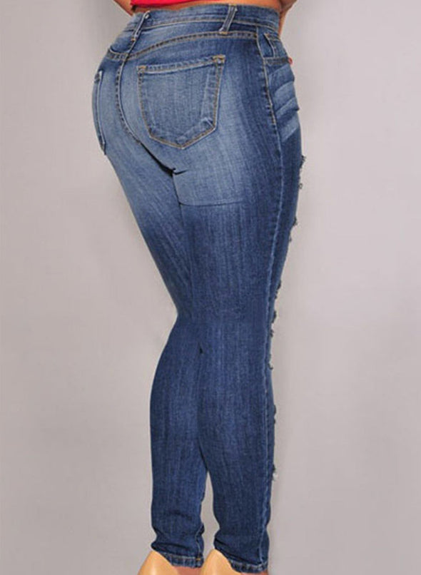 Denim Destroyed Whisker Wash Skinny Jeans