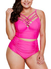 Strappy Neck Detail High Waist Swimsuit